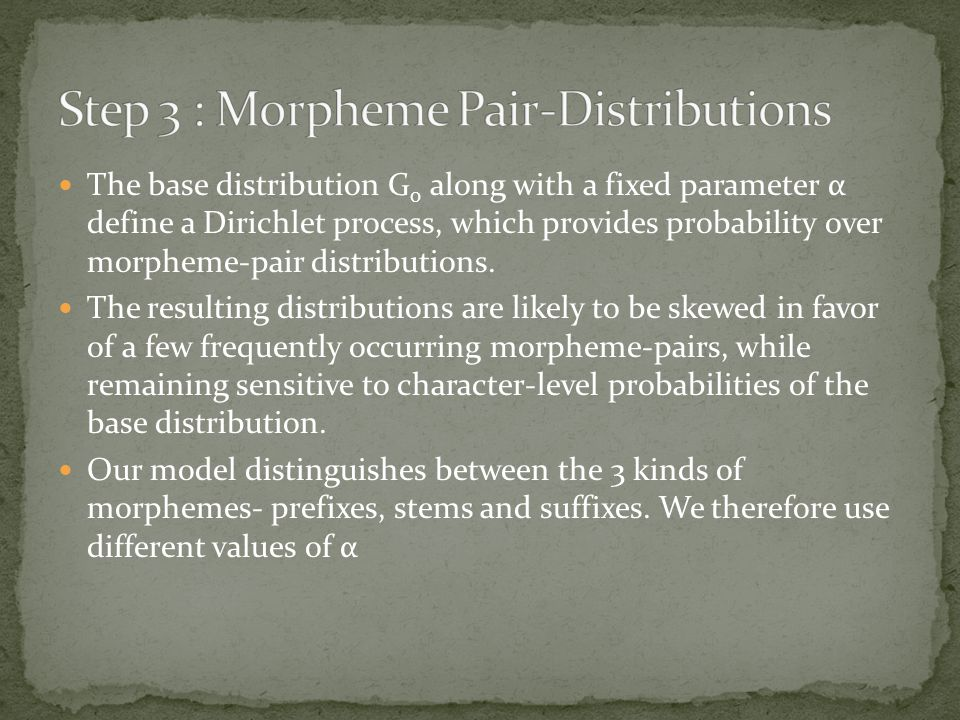 The base distribution G 0 along with a fixed parameter α define a Dirichlet process, which provides probability over morpheme-pair distributions.