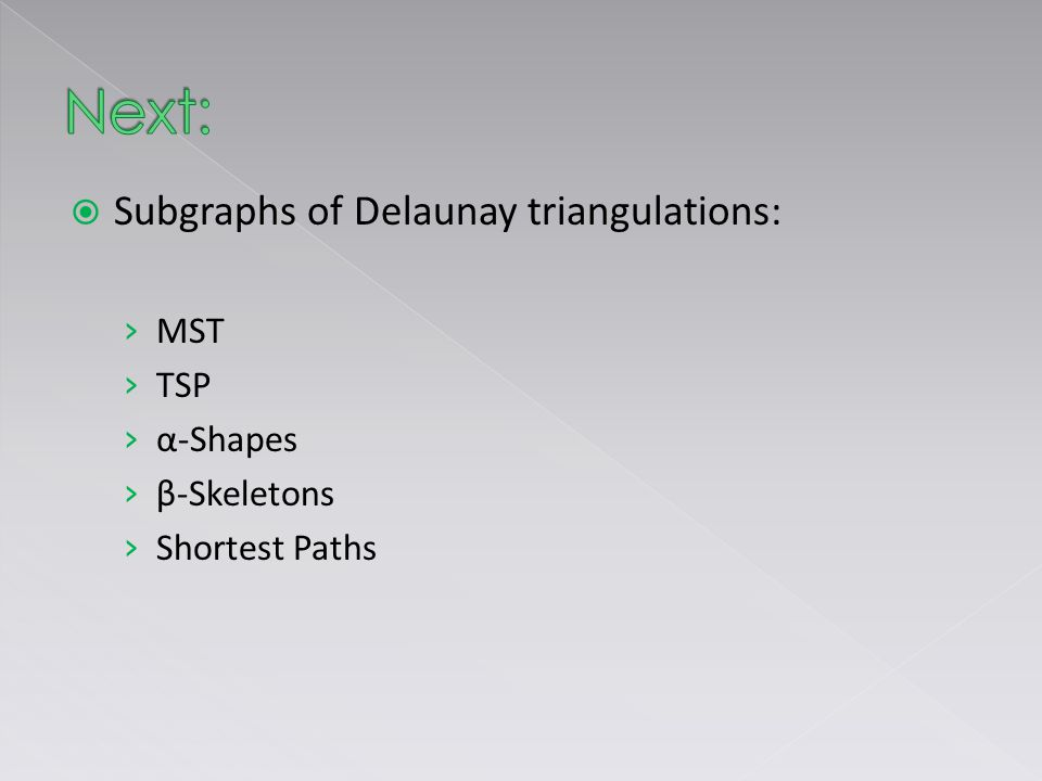  Subgraphs of Delaunay triangulations: › MST › TSP › α-Shapes › β-Skeletons › Shortest Paths
