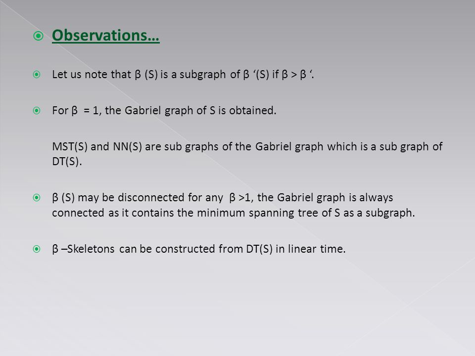  Observations…  Let us note that β (S) is a subgraph of β '(S) if β > β '.