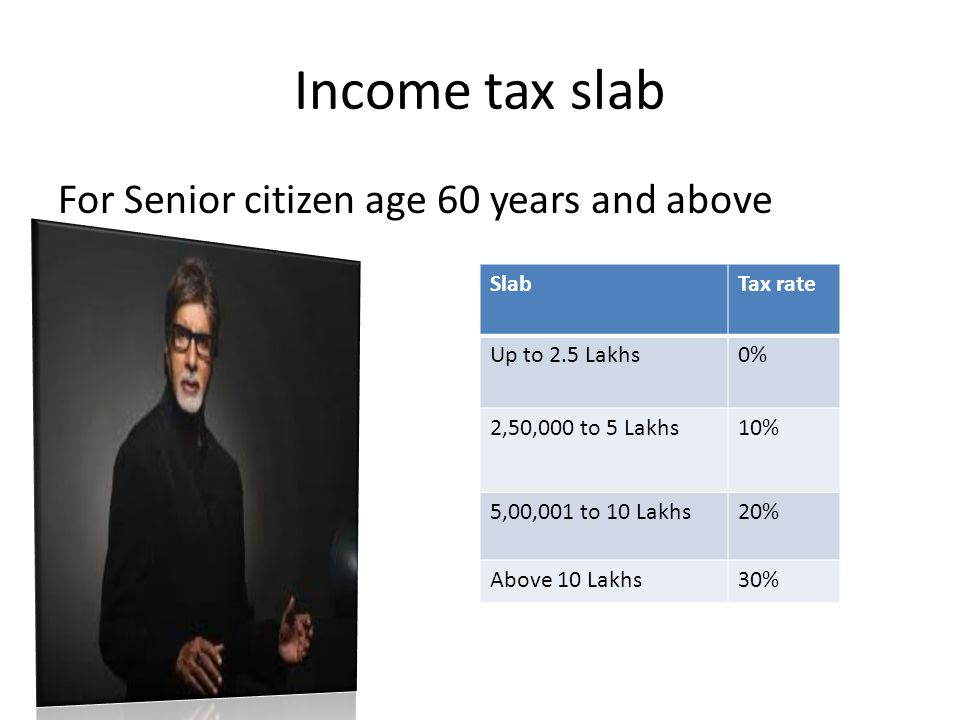 Income tax slab For Senior citizen age 60 years and above SlabTax rate Up to 2.5 Lakhs0% 2,50,000 to 5 Lakhs10% 5,00,001 to 10 Lakhs20% Above 10 Lakhs30%