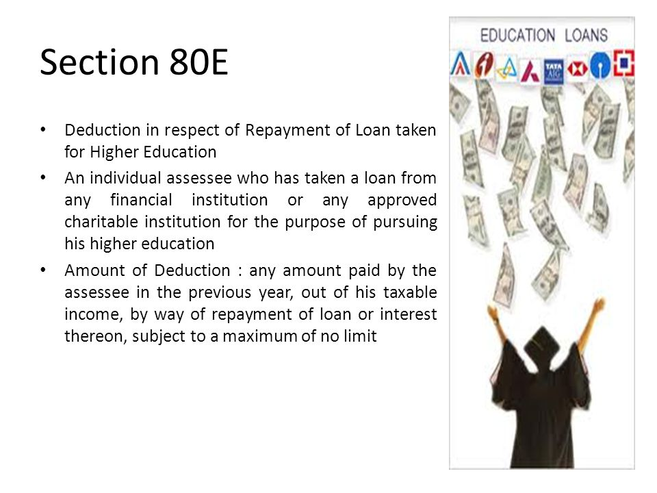 Section 80E Deduction in respect of Repayment of Loan taken for Higher Education An individual assessee who has taken a loan from any financial institution or any approved charitable institution for the purpose of pursuing his higher education Amount of Deduction : any amount paid by the assessee in the previous year, out of his taxable income, by way of repayment of loan or interest thereon, subject to a maximum of no limit