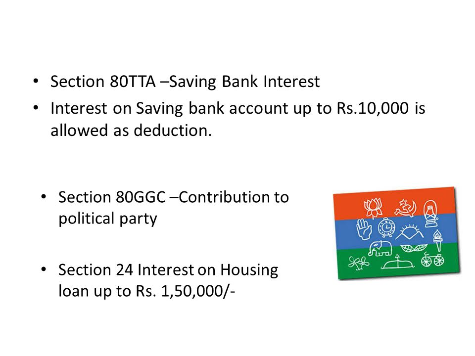 Section 80TTA –Saving Bank Interest Interest on Saving bank account up to Rs.10,000 is allowed as deduction.