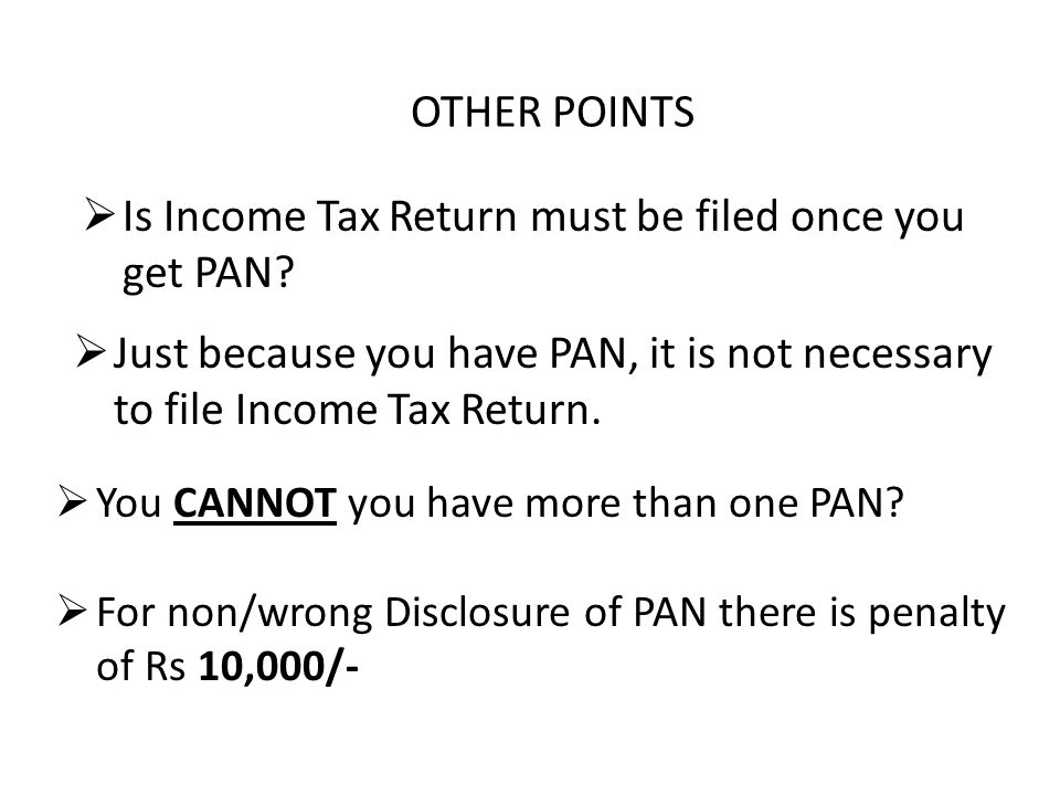 OTHER POINTS  Just because you have PAN, it is not necessary to file Income Tax Return.