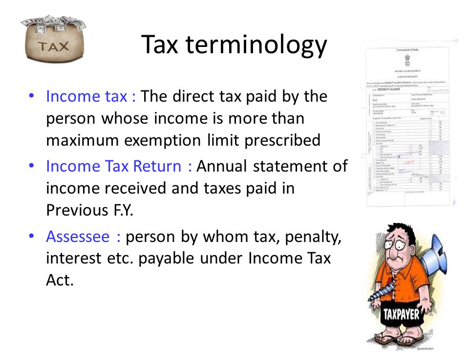 Tax terminology Income tax : The direct tax paid by the person whose income is more than maximum exemption limit prescribed Income Tax Return : Annual statement of income received and taxes paid in Previous F.Y.