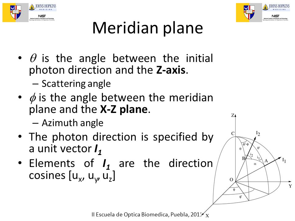 II Escuela de Optica Biomedica, Puebla, 2011 Meridian plane  is the angle between the initial photon direction and the Z-axis.
