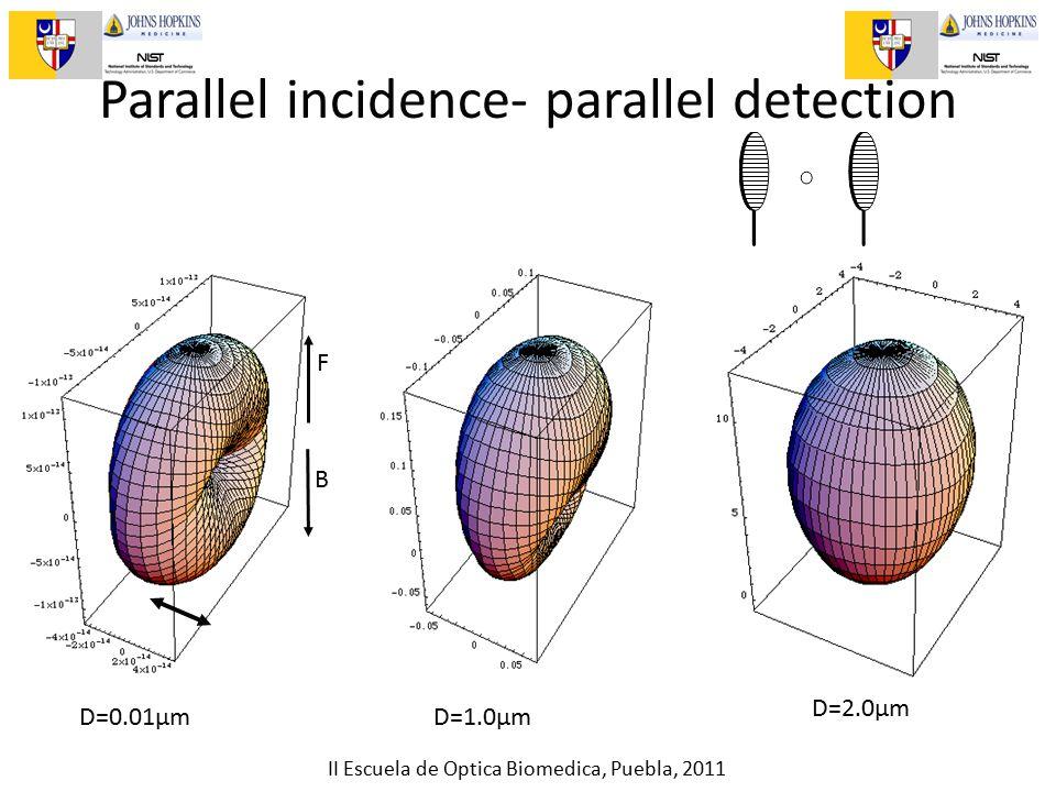 II Escuela de Optica Biomedica, Puebla, 2011 Parallel incidence- parallel detection D=0.01µmD=1.0µm D=2.0µm F B