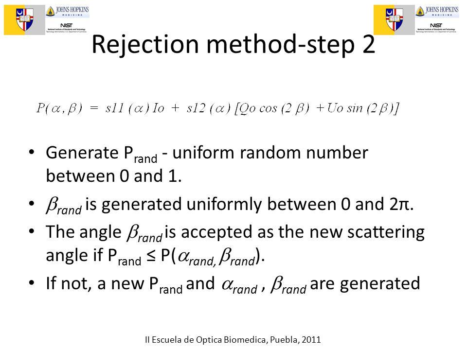 II Escuela de Optica Biomedica, Puebla, 2011 Rejection method-step 2 Generate P rand - uniform random number between 0 and 1.  rand is generated unif