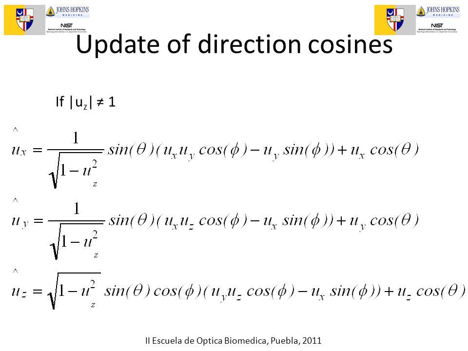 II Escuela de Optica Biomedica, Puebla, 2011 Update of direction cosines If |u z | ≠ 1