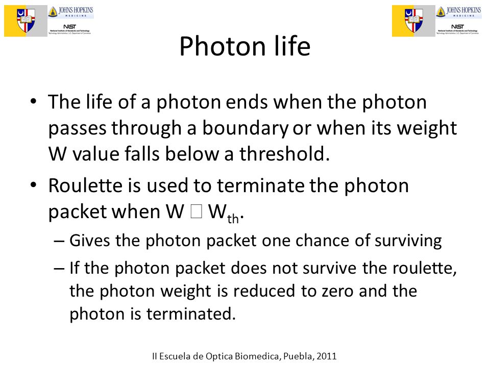 II Escuela de Optica Biomedica, Puebla, 2011 Photon life The life of a photon ends when the photon passes through a boundary or when its weight W value falls below a threshold.