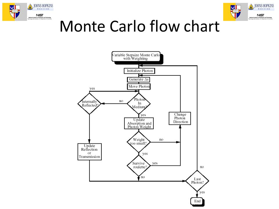 II Escuela de Optica Biomedica, Puebla, 2011 Monte Carlo flow chart