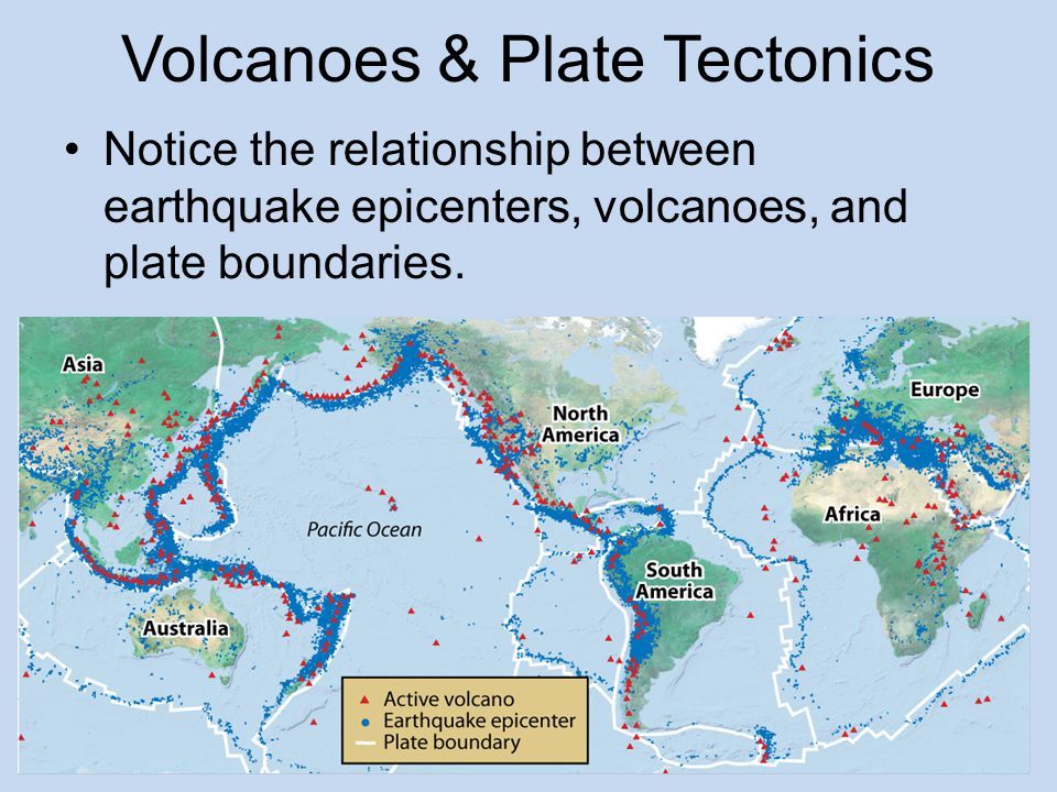 Evidence for Plate Tectonics Volcanoes form where plates separate along a mid-ocean ridge or continental rift or collide along a subduction zone.