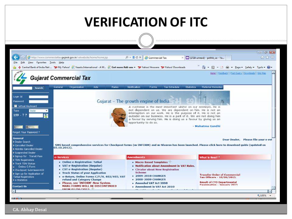 VERIFICATION OF ITC CA. Abhay Desai