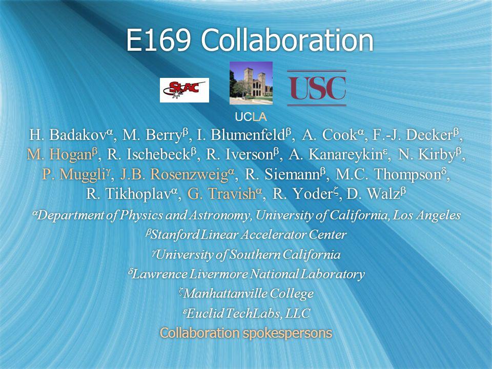 E169 Collaboration H. Badakov , M. Berry , I. Blumenfeld , A.