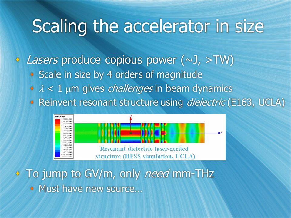 Scaling the accelerator in size  Lasers produce copious power (~J, >TW)  Scale in size by 4 orders of magnitude  < 1  m gives challenges in beam dynamics  Reinvent resonant structure using dielectric (E163, UCLA)  To jump to GV/m, only need mm-THz  Must have new source…  Lasers produce copious power (~J, >TW)  Scale in size by 4 orders of magnitude  < 1  m gives challenges in beam dynamics  Reinvent resonant structure using dielectric (E163, UCLA)  To jump to GV/m, only need mm-THz  Must have new source… Resonant dielectric laser-excited structure (HFSS simulation, UCLA)