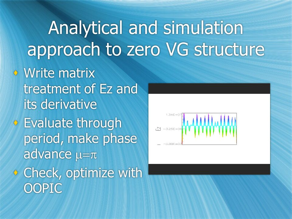Analytical and simulation approach to zero VG structure  Write matrix treatment of Ez and its derivative  Evaluate through period, make phase advance   Check, optimize with OOPIC  Write matrix treatment of Ez and its derivative  Evaluate through period, make phase advance   Check, optimize with OOPIC
