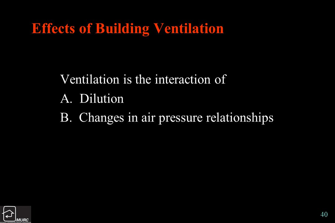 40 Effects of Building Ventilation Ventilation is the interaction of A.