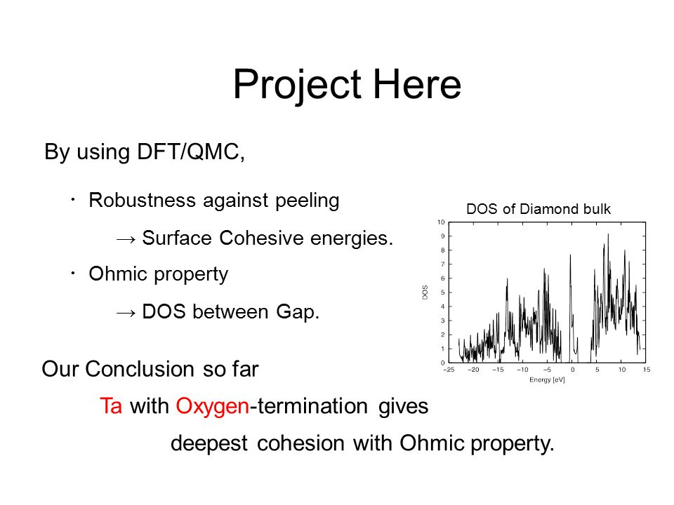Project Here By using DFT/QMC, ・ Robustness against peeling ・ Ohmic property Our Conclusion so far Ta with Oxygen-termination gives deepest cohesion w
