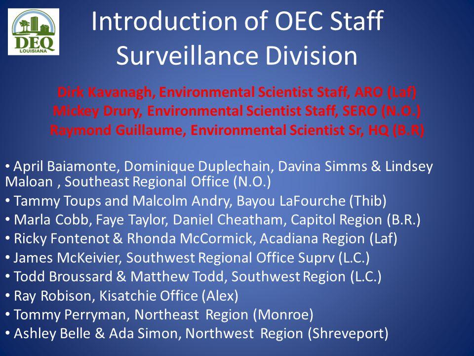 Introduction of OEC Staff Surveillance Division Dirk Kavanagh, Environmental Scientist Staff, ARO (Laf) Mickey Drury, Environmental Scientist Staff, S