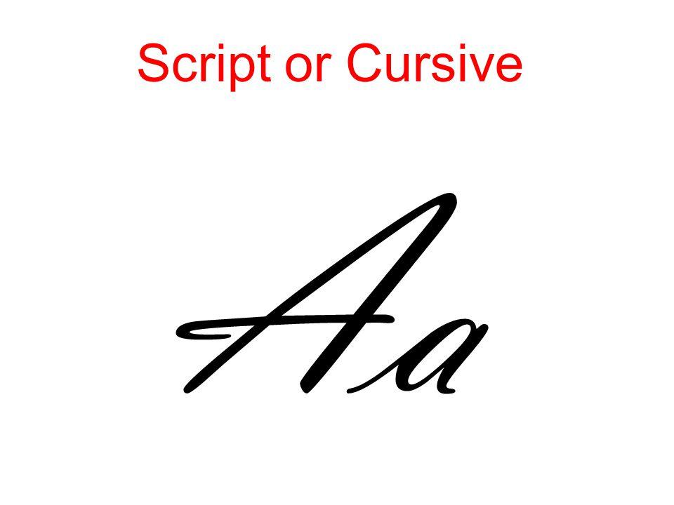 Script or Cursive Aa