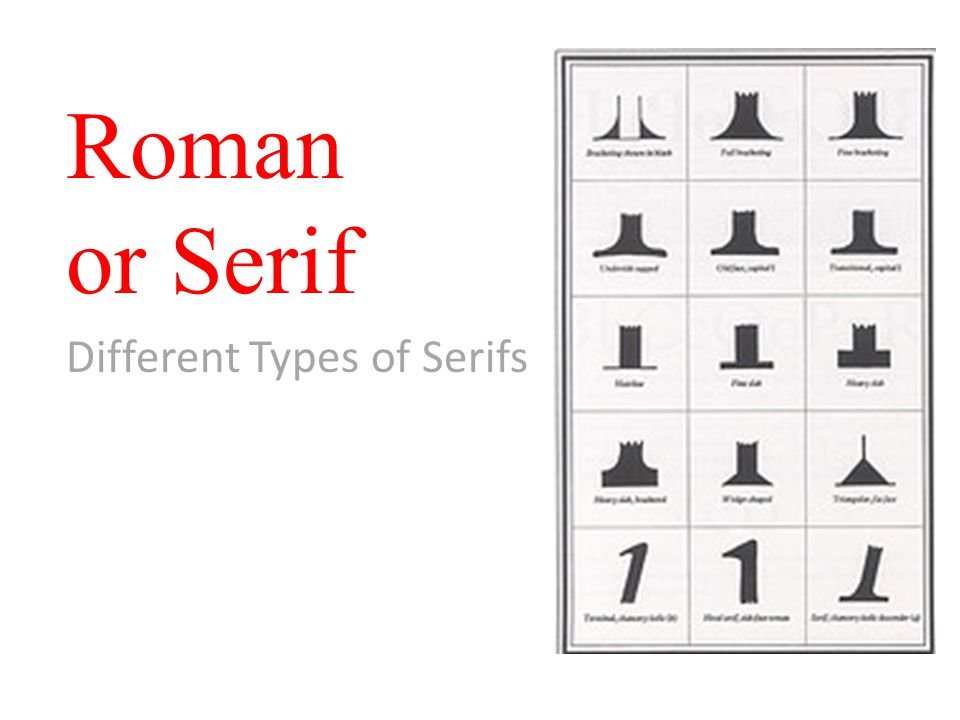 Roman or Serif Different Types of Serifs