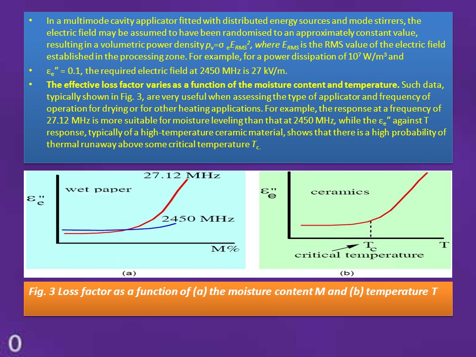 In a multimode cavity applicator fitted with distributed energy sources and mode stirrers, the electric field may be assumed to have been randomised t