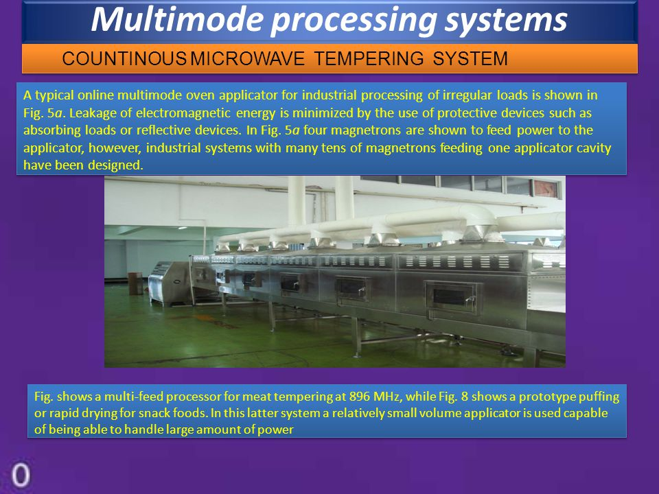 Multimode processing systems A typical online multimode oven applicator for industrial processing of irregular loads is shown in Fig. 5a. Leakage of e