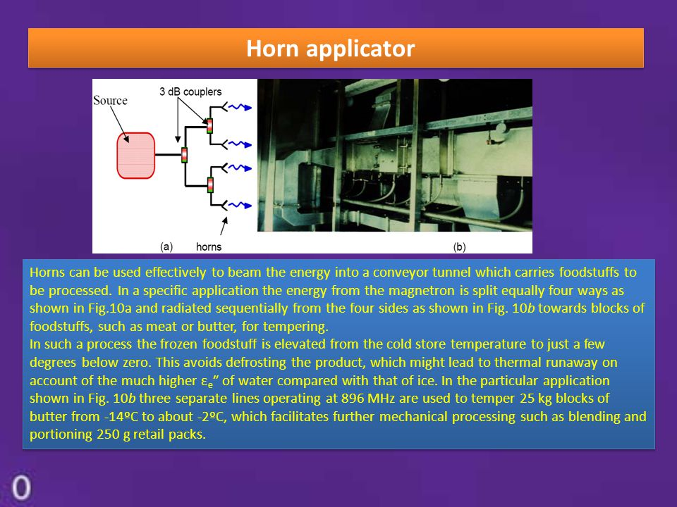 Horn applicator Horns can be used effectively to beam the energy into a conveyor tunnel which carries foodstuffs to be processed. In a specific applic