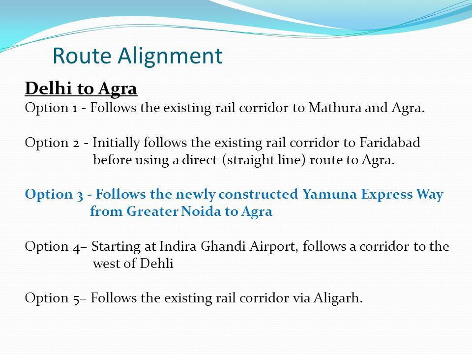 Delhi to Agra Option 1 - Follows the existing rail corridor to Mathura and Agra.