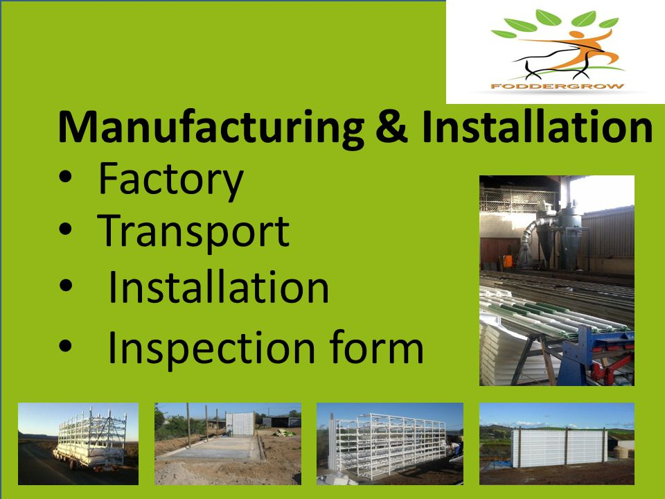 Factory Installation Inspection form Manufacturing & Installation Transport