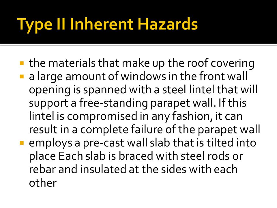  the materials that make up the roof covering  a large amount of windows in the front wall opening is spanned with a steel lintel that will support a free-standing parapet wall.