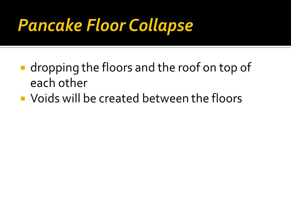  dropping the floors and the roof on top of each other  Voids will be created between the floors