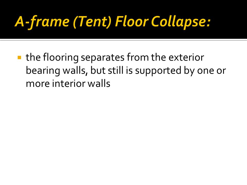  the flooring separates from the exterior bearing walls, but still is supported by one or more interior walls