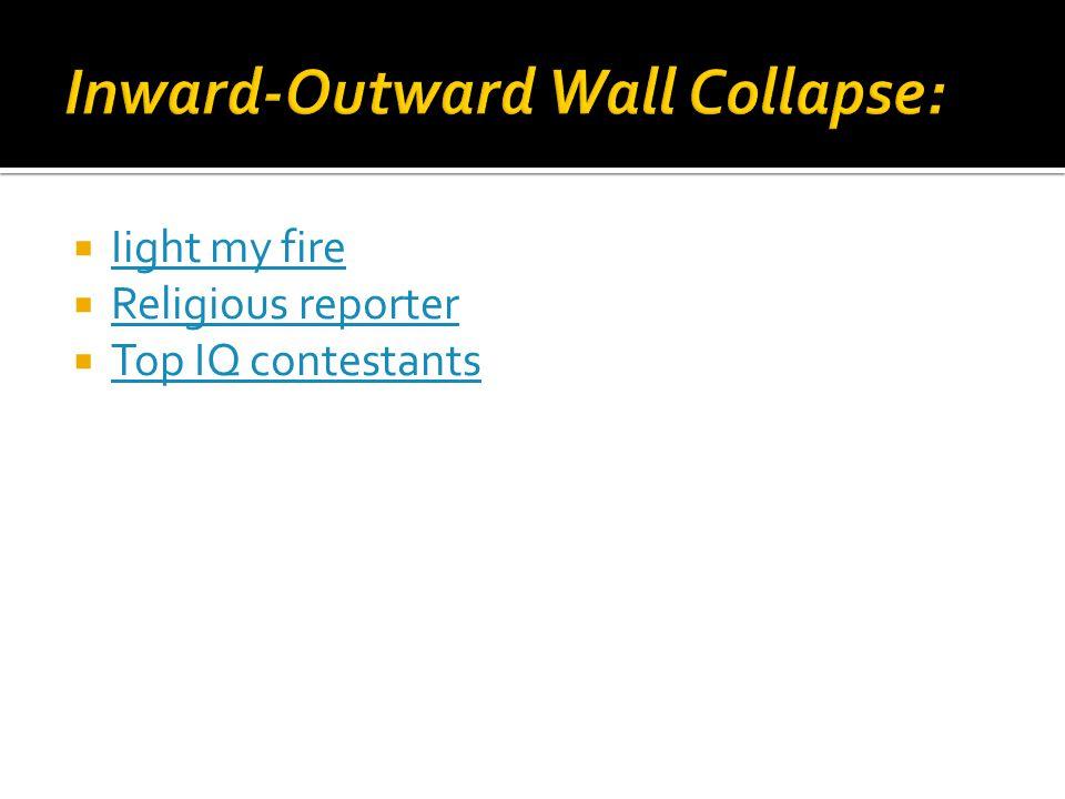  Iight my fire Iight my fire  Religious reporter Religious reporter  Top IQ contestants Top IQ contestants