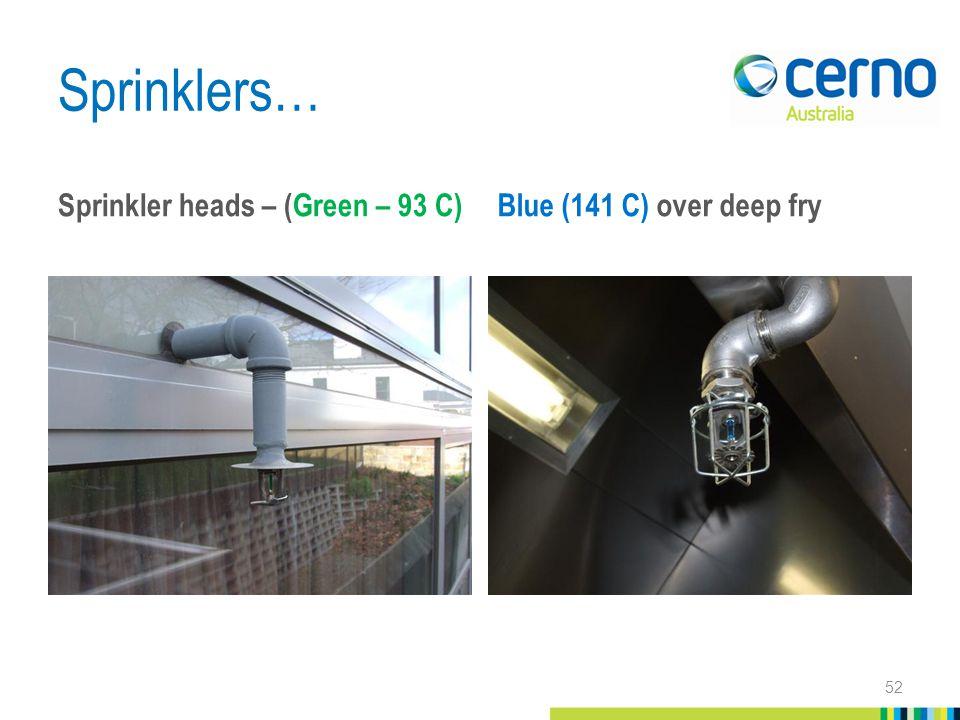 Sprinklers… Sprinkler heads – (Green – 93 C) Blue (141 C) over deep fry 52