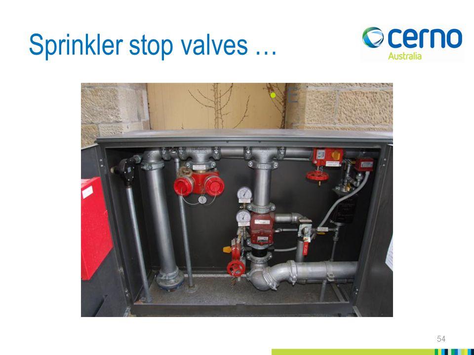 Sprinkler stop valves … 54 E