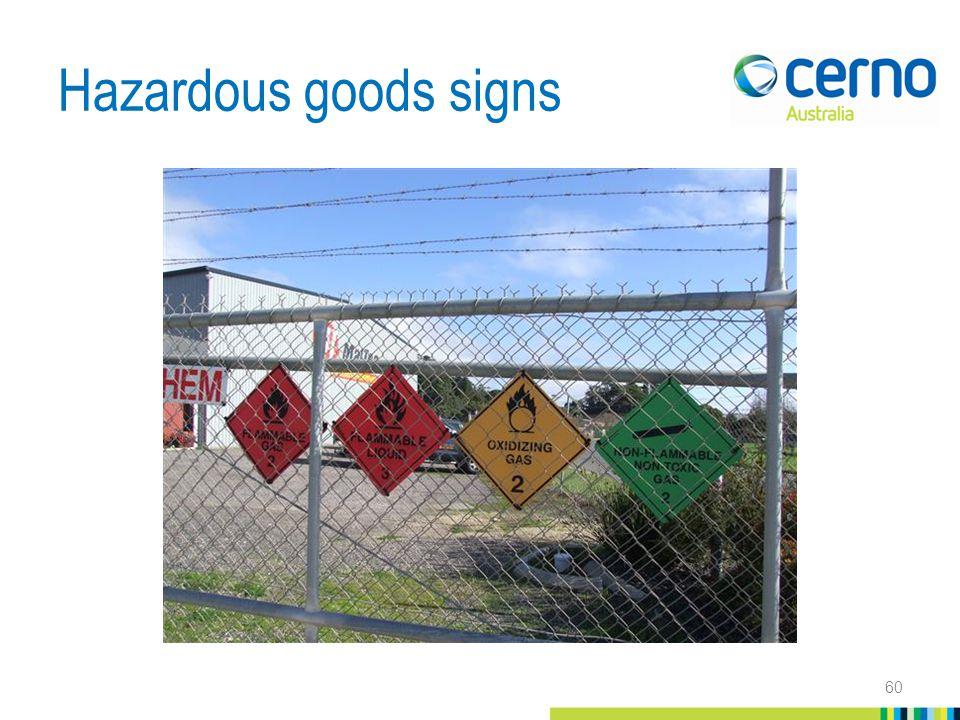 Hazardous goods signs 60