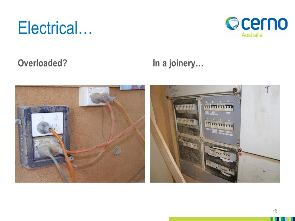 Electrical… Overloaded In a joinery… 76