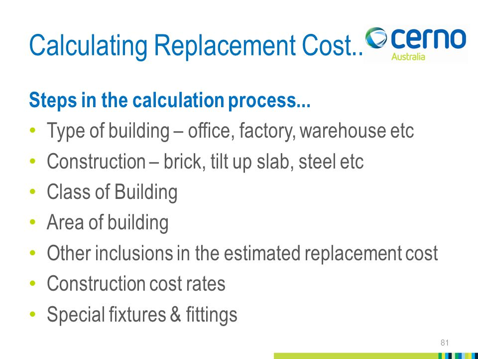 Calculating Replacement Cost... Steps in the calculation process...