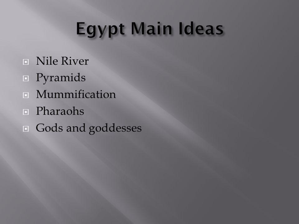  Nile River  Pyramids  Mummification  Pharaohs  Gods and goddesses