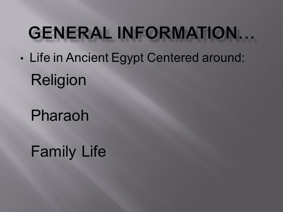 Life in Ancient Egypt Centered around: Religion Pharaoh Family Life