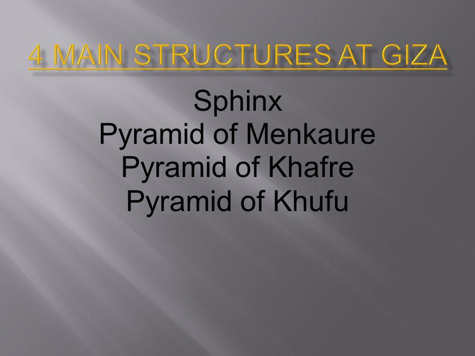 Sphinx Pyramid of Menkaure Pyramid of Khafre Pyramid of Khufu