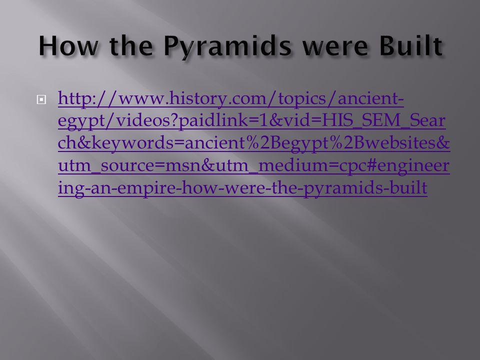  http://www.history.com/topics/ancient- egypt/videos?paidlink=1&vid=HIS_SEM_Sear ch&keywords=ancient%2Begypt%2Bwebsites& utm_source=msn&utm_medium=cp