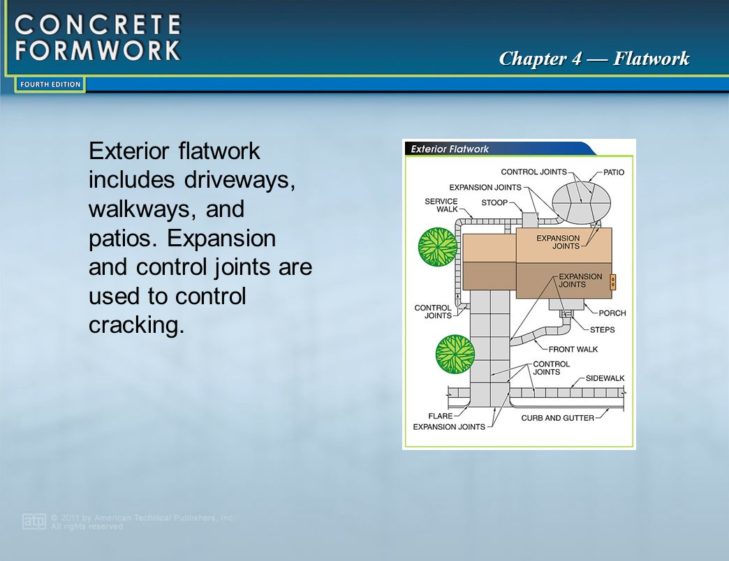 Chapter 4 — Flatwork Exterior flatwork includes driveways, walkways, and patios. Expansion and control joints are used to control cracking.