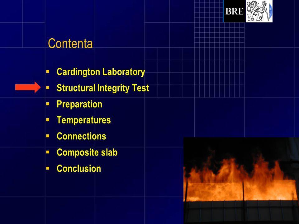  Cardington Laboratory  Structural Integrity Test  Preparation  Temperatures  Connections  Composite slab  Conclusion Contents