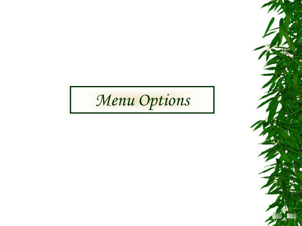 Menu Options 14 12