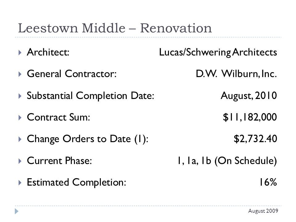 Leestown Middle – Renovation  Architect: Lucas/Schwering Architects  General Contractor: D.W.