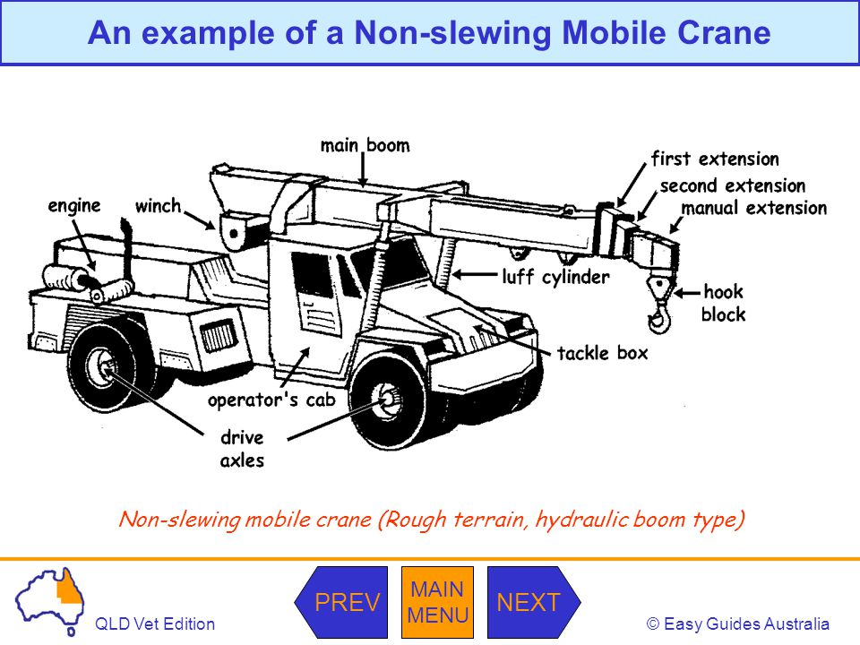 © Easy Guides AustraliaQLD Vet Edition MAIN MENU NEXTPREV An example of a Non-slewing Mobile Crane Non-slewing mobile crane (Rough terrain, hydraulic boom type)