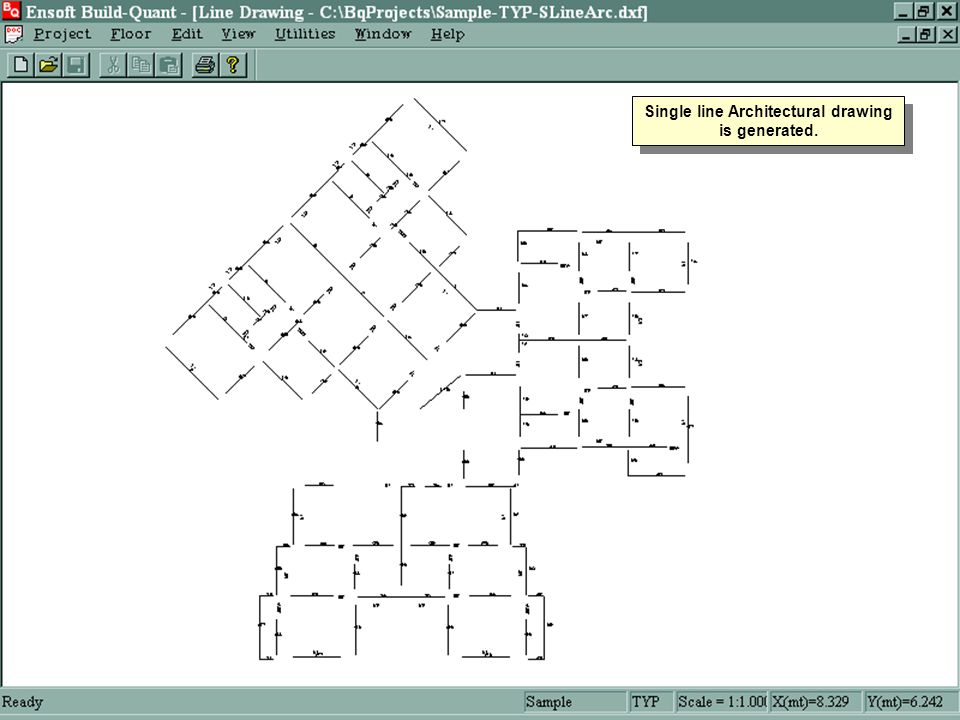 Single line Architectural drawing is generated.