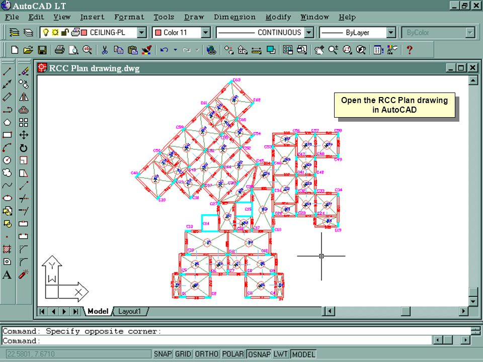 Open the RCC Plan drawing in AutoCAD