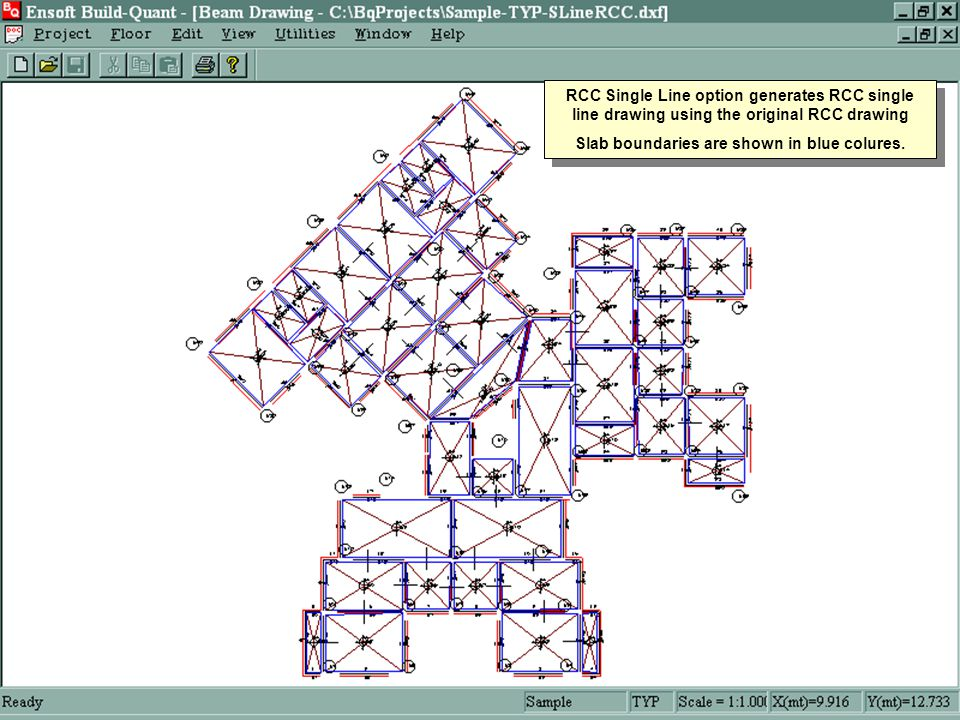 RCC Single Line option generates RCC single line drawing using the original RCC drawing Slab boundaries are shown in blue colures.
